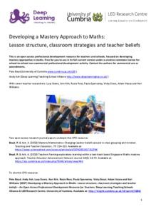 Developing a mastery approach to maths: lesson structure